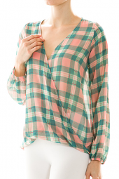 Wrapped High Low V-Neck Long Sleeve Plaid Blouse