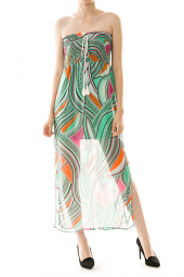 Abstract Print Smock Top Semi Sheer Maxi Dress