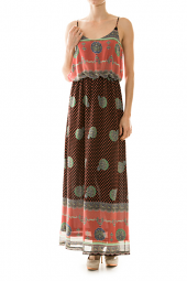 Bubble Top Abstract & Dot Print Maxi Dress