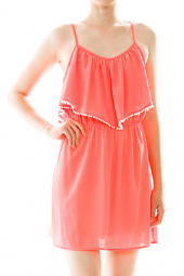 Ruffle Flounce Pom Pom Trim Mini Dress