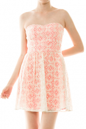 Strapless Sweetheart Floral Lace Detail Mini Dress