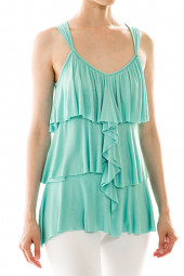 Layered Flutter Front V-Neck Tank Top