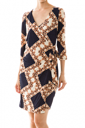Wrapped Abstract Above Knee Length Dress