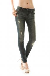 Ripped Five Pocket Denim Skinny Jean