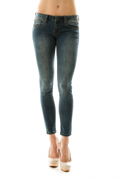 Faded Glitter Cropped Skinny Denim Jeans