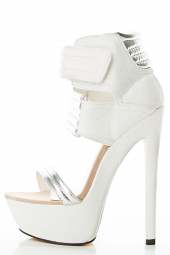 Open Toe Pure White Silver Quilted Cuff Platform High Heel Pump Sandals