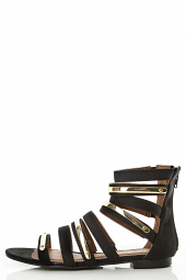 Gold Plated Open Toe Strappy Cage Cut Out Gladiator Flat Sandal