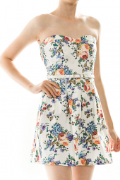 Belted Sweetheart Fit & Flare Floral Mini Dress