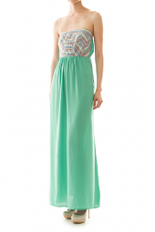 Strapless Stretch Back Tribal Top Maxi Dress