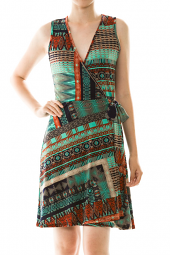 Abstract Print Surplice Wrap Mini Dress