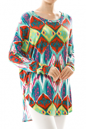Colorful Abstract Tribal Dolman Sleeve Tunic Top