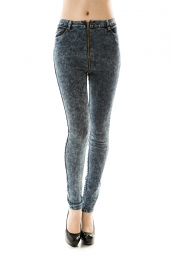 Acid Wash Zippered Denim Skinny Jeans