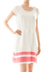 Short Sleeve Tie Waist Color Block Dress