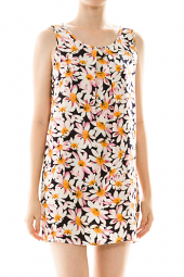 Daisy Print Pleated Neck Mini Tank Dress