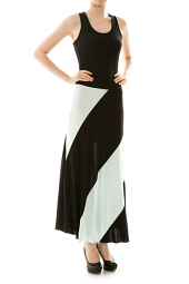 Racerback Swirl Color Block Stretch Maxi Dress