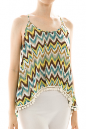 Abstract Open Back High Low Ball Hemline Top