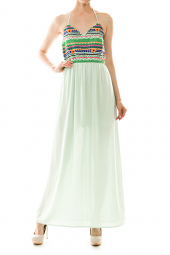 Colorful Embroidered Detail Maxi Dress