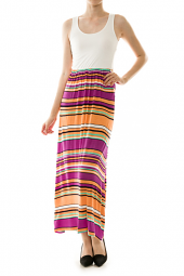 Striped Skirt Print Crossback Maxi Dress