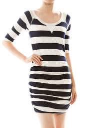 Ruched Striped Bodycon Mini Dress