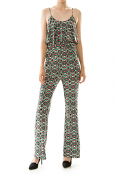 Abstract Tribal Print Flounce Detail Jumpsuit