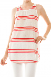 Open Draped Cross Back Stripe Tunic Top
