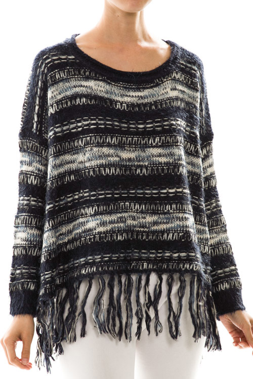 Stripe Knit Fringe Detail Sweater