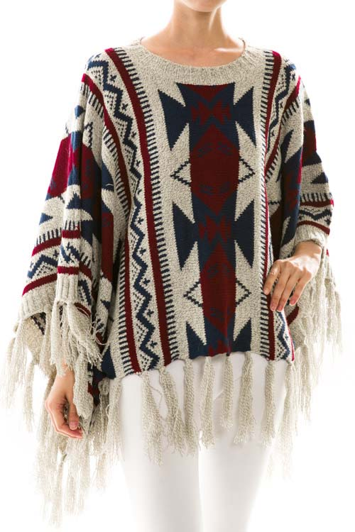 Tribal Knit Fringe Trim Poncho