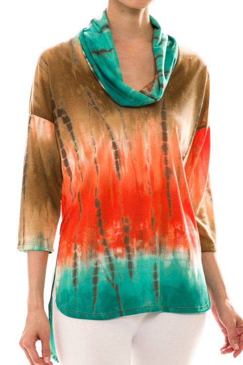 Tie Dye High-Low Cowl Neck Top