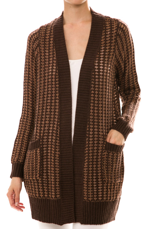 Long Sleeve Open Front Two Tone Cardigan Knit