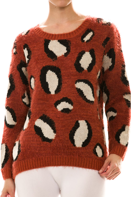 Fuzzy Long Sleeve Animal Print Sweater Knit