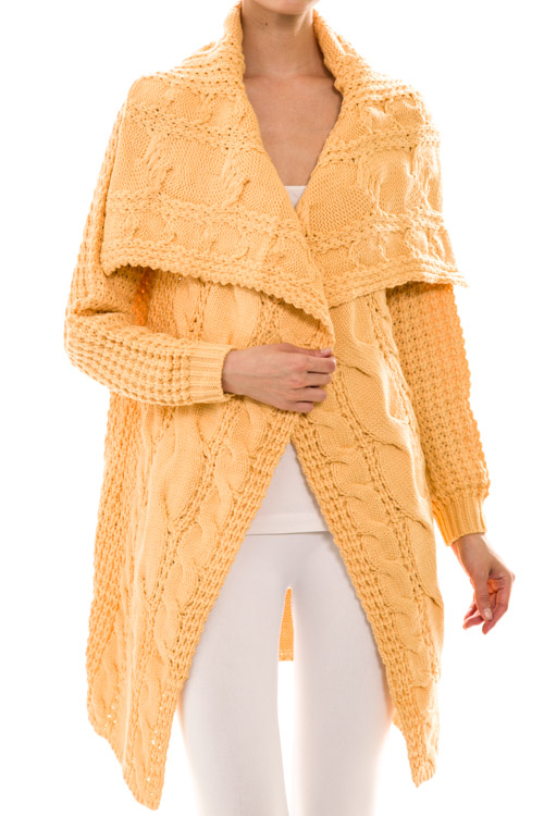 Open Front Long Sleeve Longline Knit Cardigan