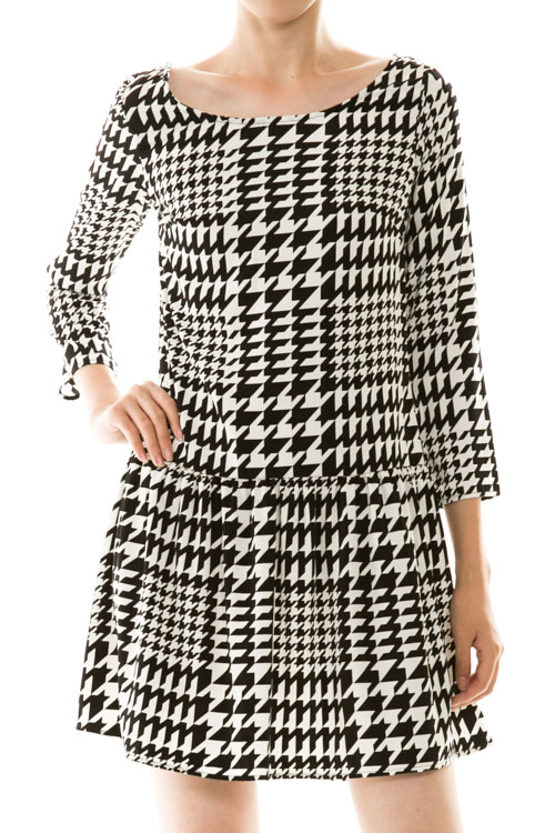 Houndstooth 3/4 Sleeve Flared Dress