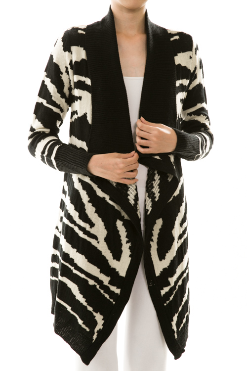 Zebra Print Open Front Draped Knit Cardigan