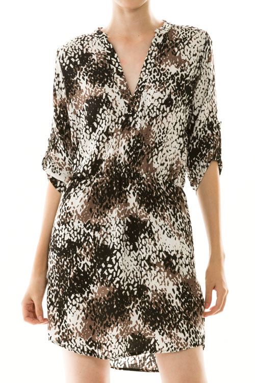 Abstract Splatter Print Shirt Dress