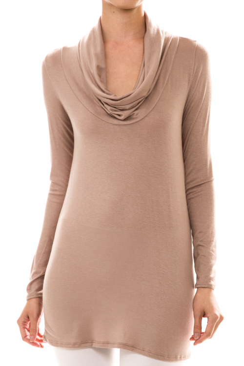 Long Sleeve Cowl Neck Solid Tunic Top