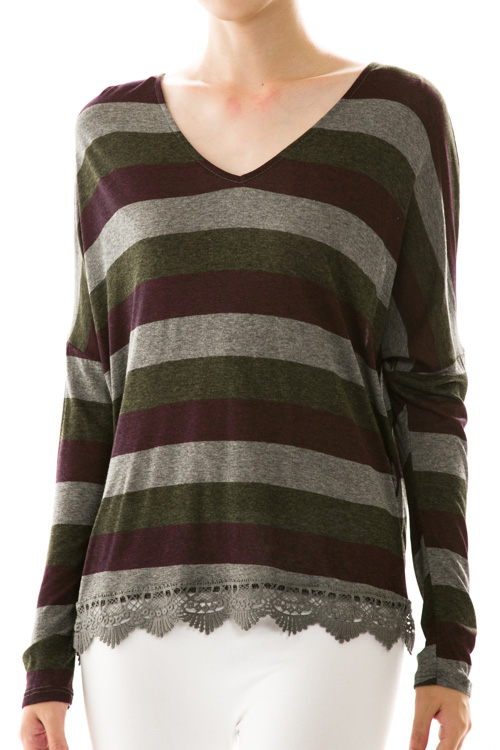 Stripe Open Back Lace Trim Knit Top
