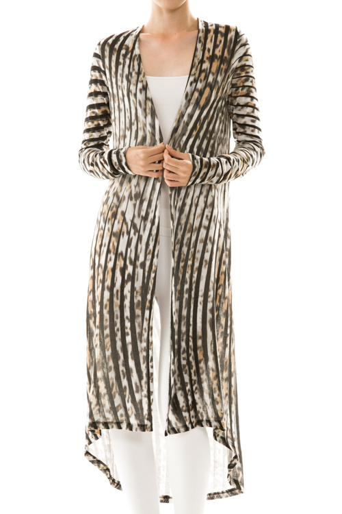 Stripe Animal Print Open Front Cardigan