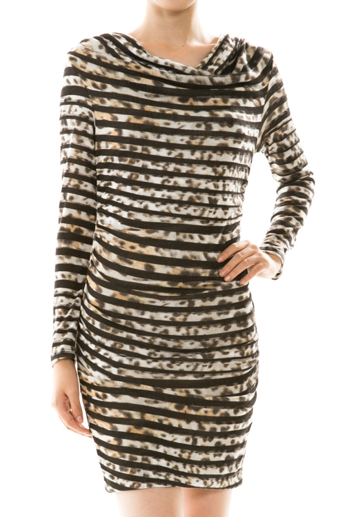 Stripe Cowl Neck Leopard Print Mini Dress