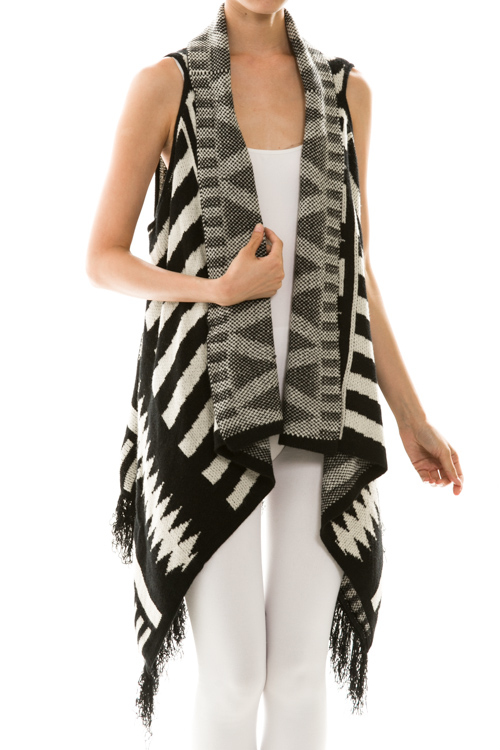 Sleeveless Open Front Draped Fringe Cardigan