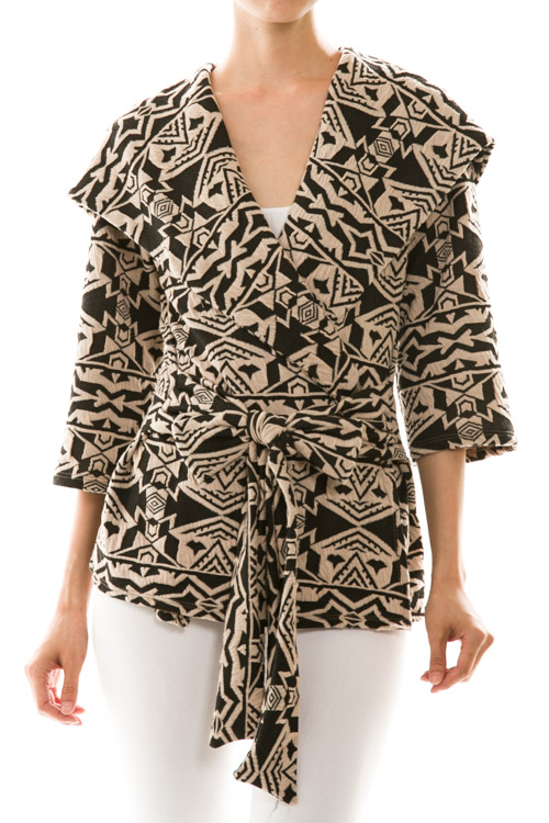 Abstract Tribal Print Waist Tie Hooded Coat