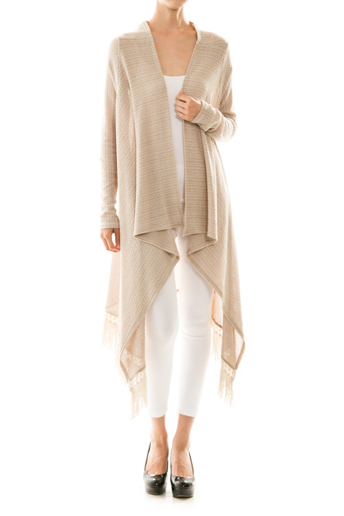 Fringe Detail Knit Draped Maxi Cardigan