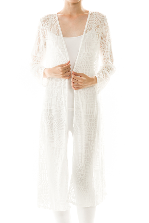 Longline Open Front Lace Cardigan