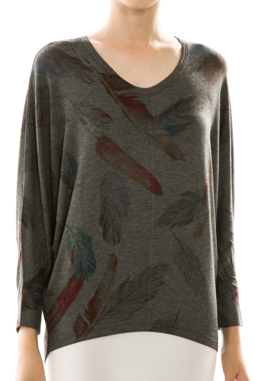 Colored Feather Print Dolman Knit Top