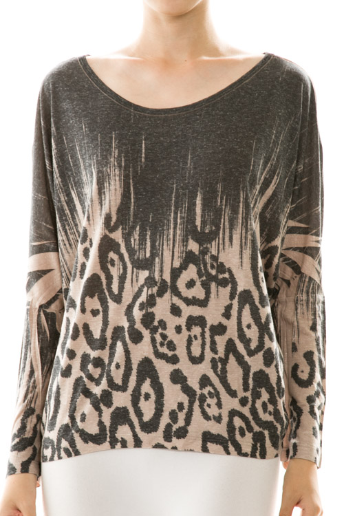 Leopard Print Dolman Pullover Top