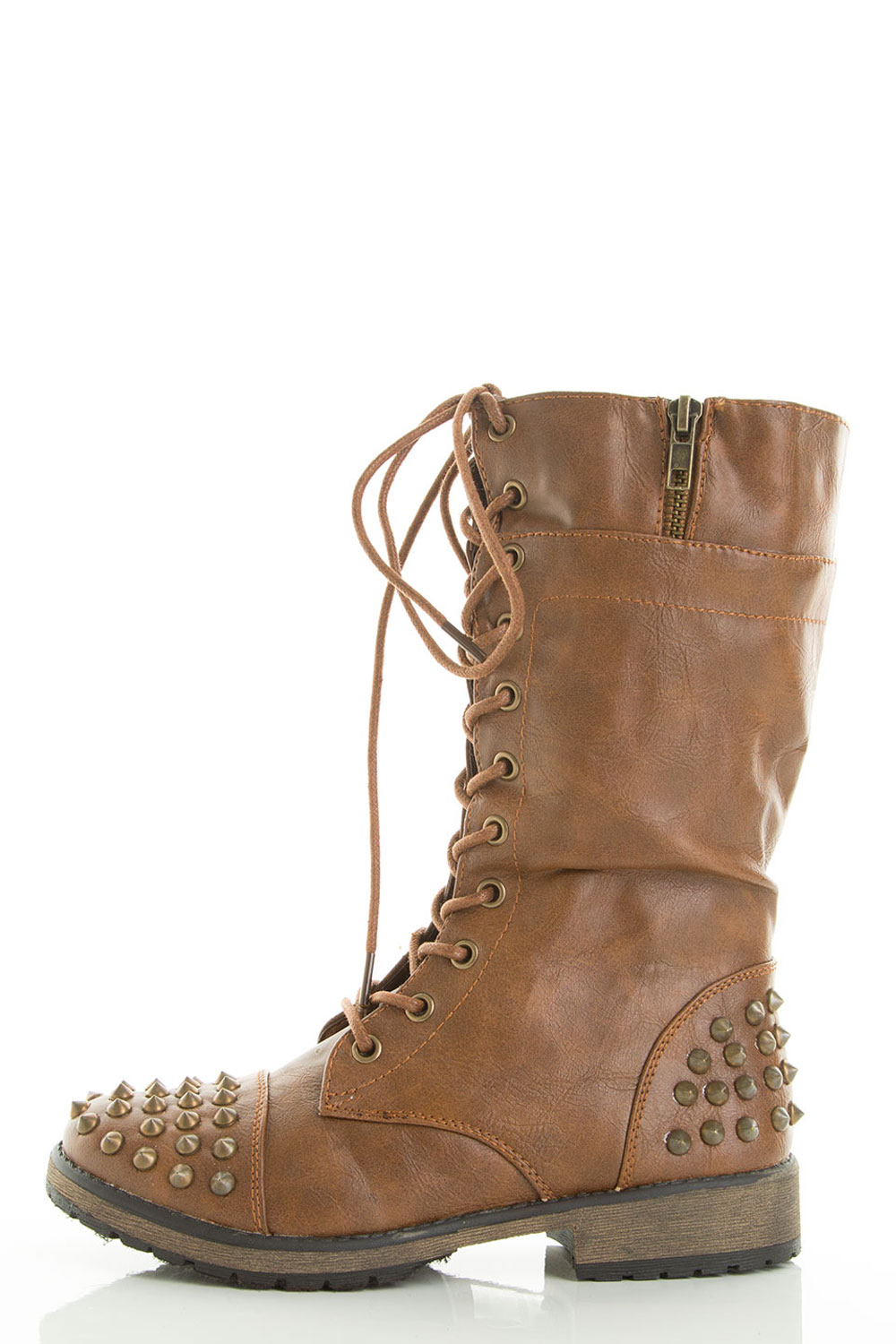 Spike Stud Lace Up Military Low Flat Heel Combat Ankle Boots