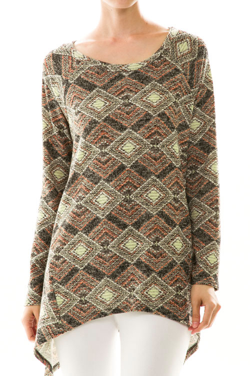 Diamond Print Asymmetrical Knit Top