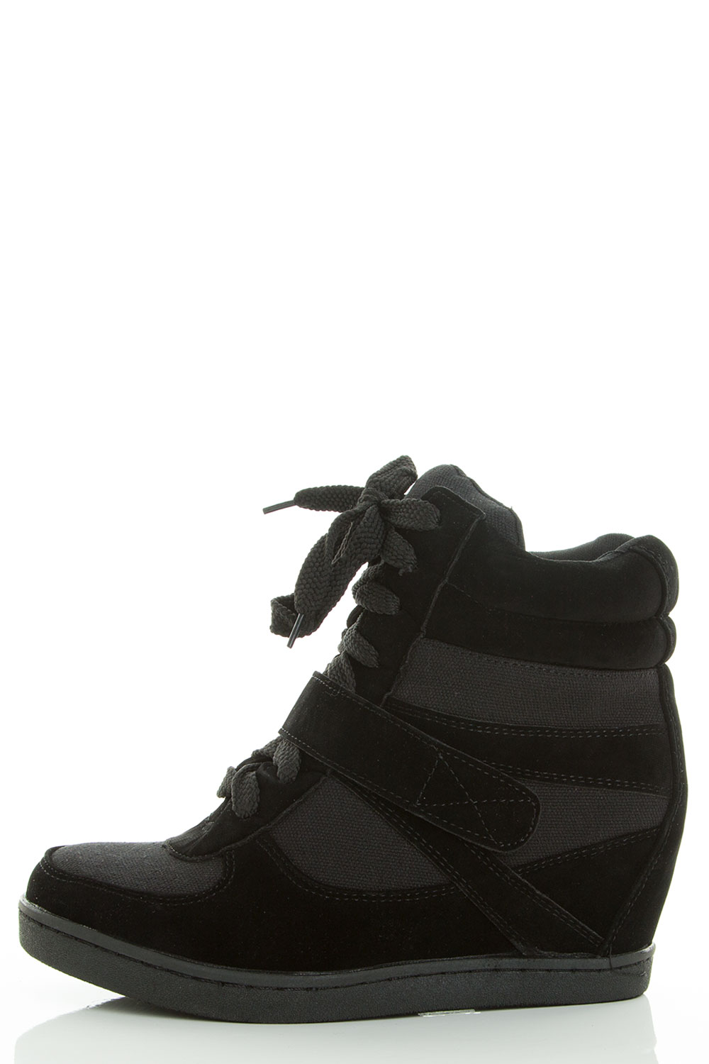 High Top Lace Up Velcro Medium High Hidden Wedge Sneaker Booties