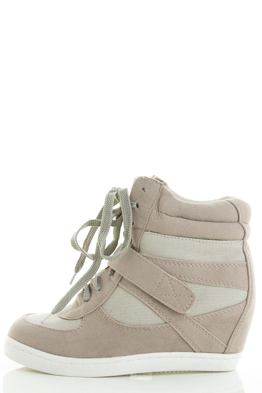 High Top Lace Up Velcro Medium High Hidden Wedge Sneaker Booties