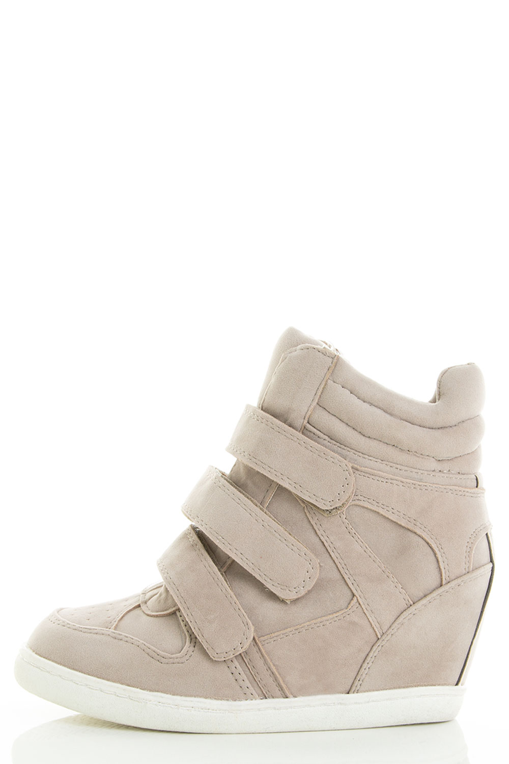 Velcro Strap Round Toe Hidden Wedge Ankle Booties
