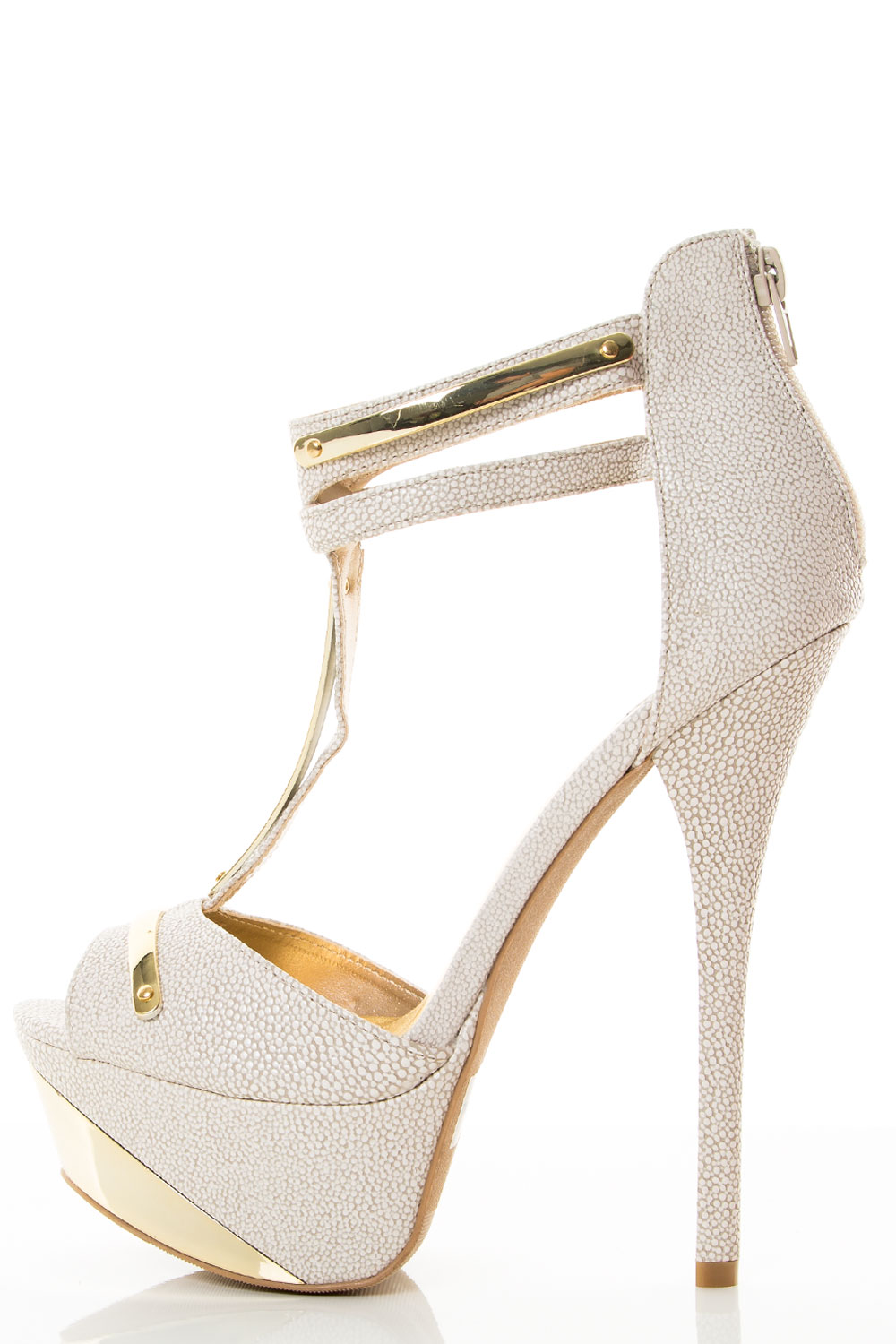 Pee Toe Gold Shield Ankle Strap Platform Pump Shoes